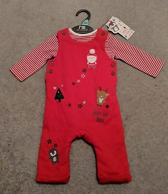 MOTHERCARE BABY CHRISTMAS DUNGAREE & BODYSUIT SET, OUTFIT, FATHER CHRISTMAS 0-3