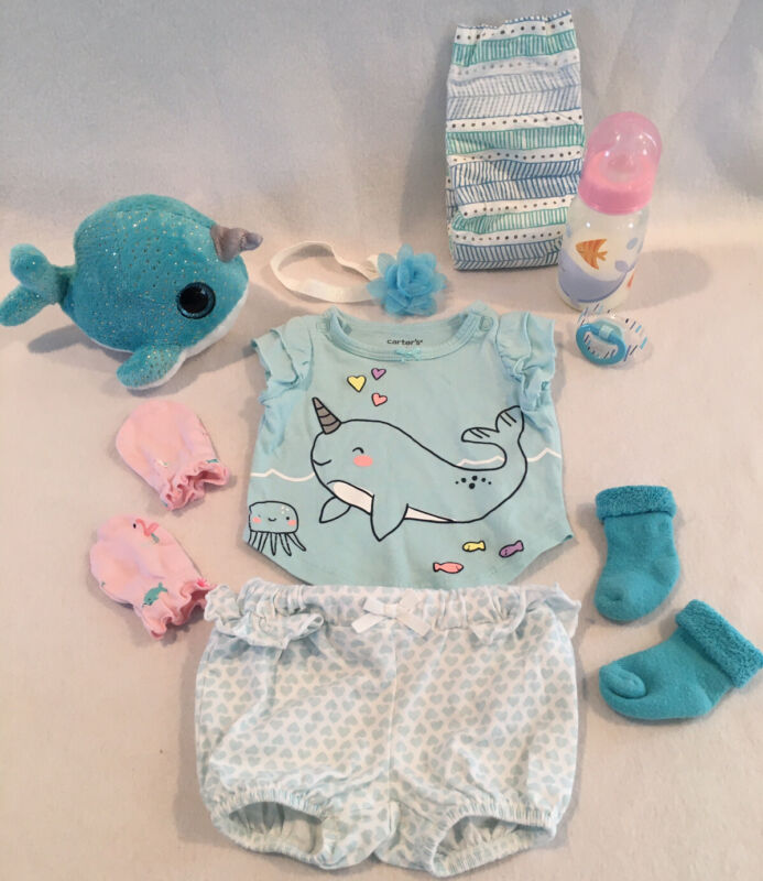 Reborn Baby Doll Narwhal Outfit W/pacifier, Bottle& Accs