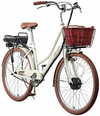 E-Plus Breeze 26 Inch Electric Heritage Ladies' Hybrid Bike - Cream