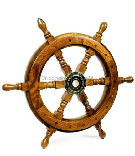 """NEW  Premium Nautical Handcrafted HANGING 18"""" Wooden Rosewood Wooden Ship Wheel"""