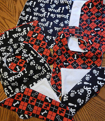 NEW 7 PC BABY GIFT SET REVERSIBLE BLANKET 2 BIB 2 WASH CLOTH 2 BURP SCOTTY DOGS