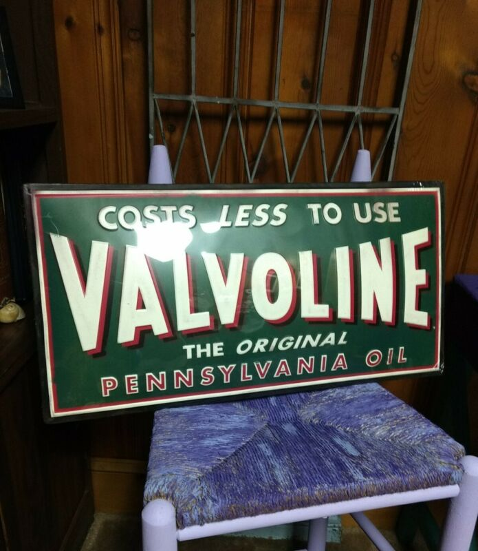 """Collectible Valvoline Motor Oil Embossed Rustic Large 26"""" Metal Tin Sign Garage"""