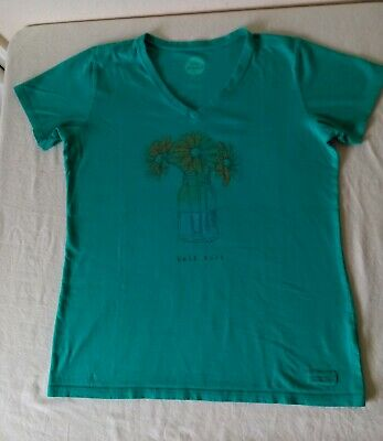 Life is Good Half Full Women's Crusher Tee Green Top/T-Shirt V Neck Shirt Size M