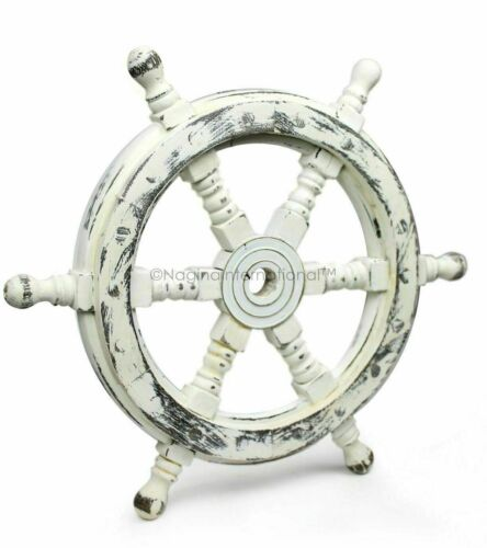 """18"""" Antique White Nautical Handcrafted Wooden Ship Wheel - Home Wall Decor gift"""