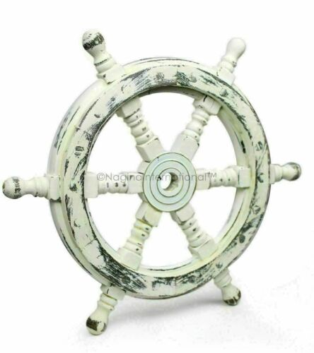 """18"""" Antique White Nautical Handcrafted Wooden Ship Wheel Home Wall Decor Gift"""