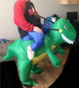 Riding a dinosaur costume