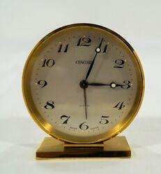 Vintage Concord 8 Day Swiss Movement Alarm Travel Desk Clock Deco Brass Case