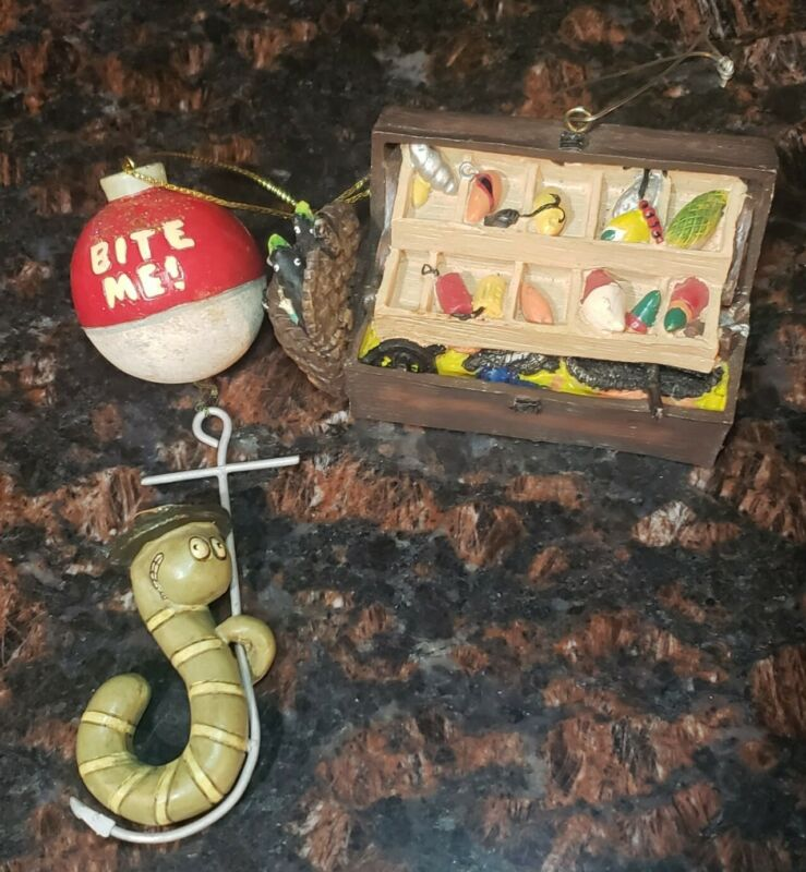 Lot Of 2 fishing Themed Ornaments