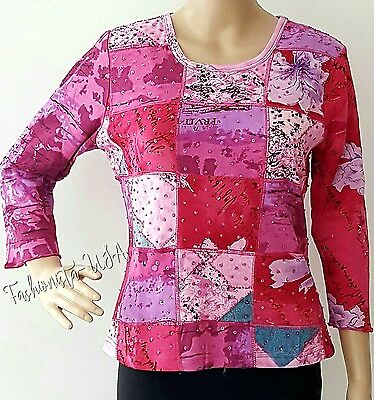 Womens Top Size S Petite Printed w/Pink Sequin & Beads Pull Over Long Sleeves