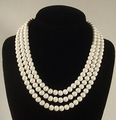 60s -70s Jewelry – Necklaces, Earrings, Rings, Bracelets Vintage 3 Strand White Beaded Necklace 1960's $54.99 AT vintagedancer.com