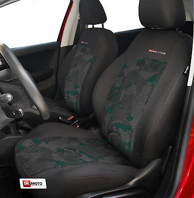 2 X CAR SEAT COVERS for front seats fit Citroen Saxo charcoal/green
