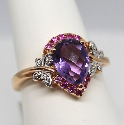 Amethyst, Pink Sapphire and Diamond Butterfly Ring 14K Rose Gold Size 7 Fashion Amethyst Pink Sapphire Ring