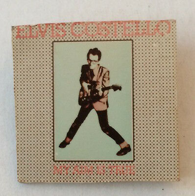 "Vintage 1970s ELVIS COSTELLO pinback button pin badge My Aim Is True 1.5"" square"