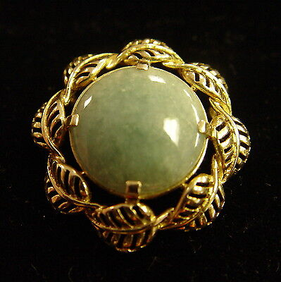 Jade Leaf Bezel 14K Yellow Gold pendant, gorgeous!