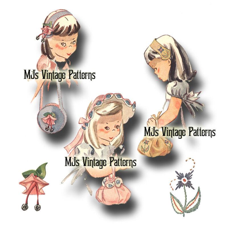 Vintage Pattern ~ Felt Hats and Purses for Little Girls