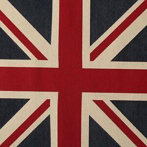 LARGE WOVEN UNION JACK FLAG HEAVY LINEN LOOK UPHOLSTERY CUSHION PANEL FABRIC UK