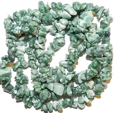 Green Tree Agate Beads - NG768 Green & White Tree Agate Medium 8mm - 9mm Gemstone Nugget Chip Bead Strand