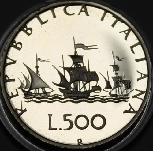 Italy 500 Lire, 1985 Silver Proof~RARE~15,000 Minted~Columbus