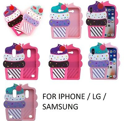 cupcake 3D Cherry Ice Cream Silicone Soft Case Back Cover IPHONE SAMSUNG LG ZTE Apple Iphone Cherries