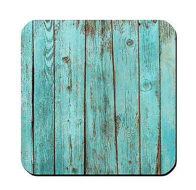 4 DRINK COASTERS - Wood #SN1 Teal Turquoise glossy wood bar country rustic (Teal Coasters)