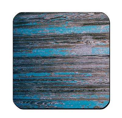 4 DRINK COASTERS - Wood #SN6 Teal Turquoise Black glossy wood bar country (Teal Coasters)
