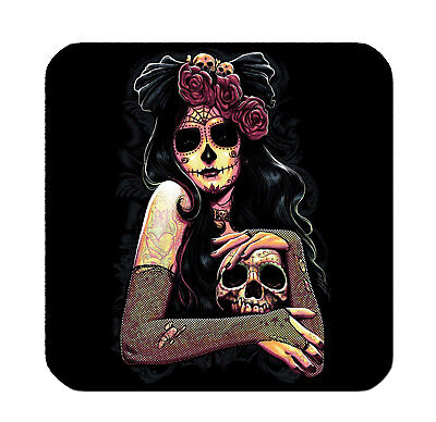 4 WOOD DRINK COASTERS - SUGAR SKULL #13 Dia de los Muertos Day of Dead Halloween - 13 Dias De Halloween