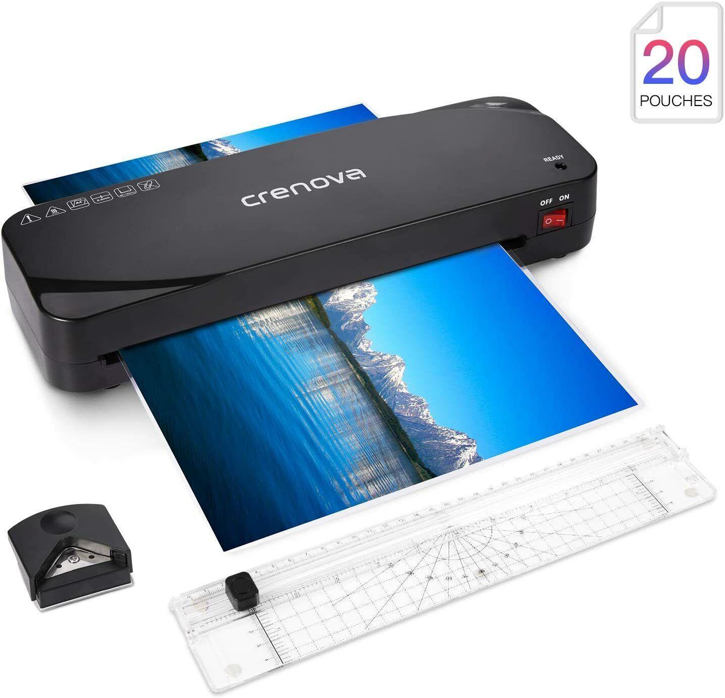 Crenova A4 Laminator Machine + 20 Pouches, Paper Trimmer, Co