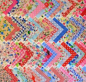 50 X 4 INCH PATCHWORK FABRIC SQUARES BUNDLE REMNANTS SEWING CRAFT MATERIAL