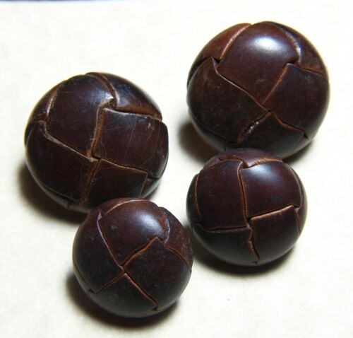 """vintage MATCHING SET OF 4 BROWN LEATHER SHANK LEATHER BUTTONS 7/8"""" & 1&1/8"""""""