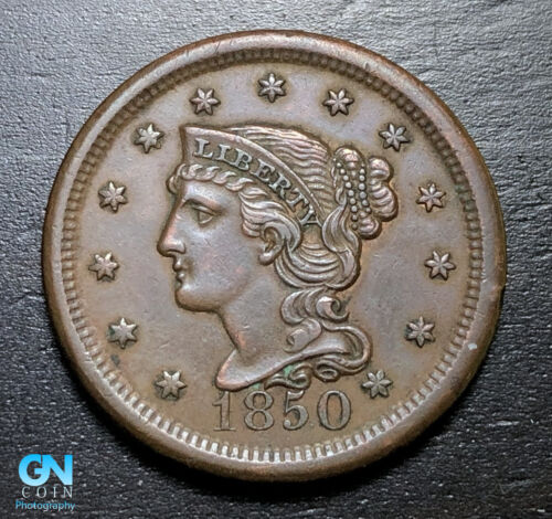 1850 Braided Hair Large Cent --  MAKE US AN OFFER!  #B3274