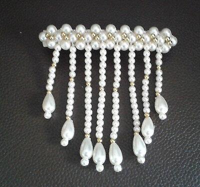 Haarspange / Haar Schmuck mit hübschen Mode Perlen hängend Creme/Gold   NEU