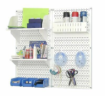 Peg Board Organizer Wall Mount Arts Craft Bins Office Art Studio Shelving Shelf