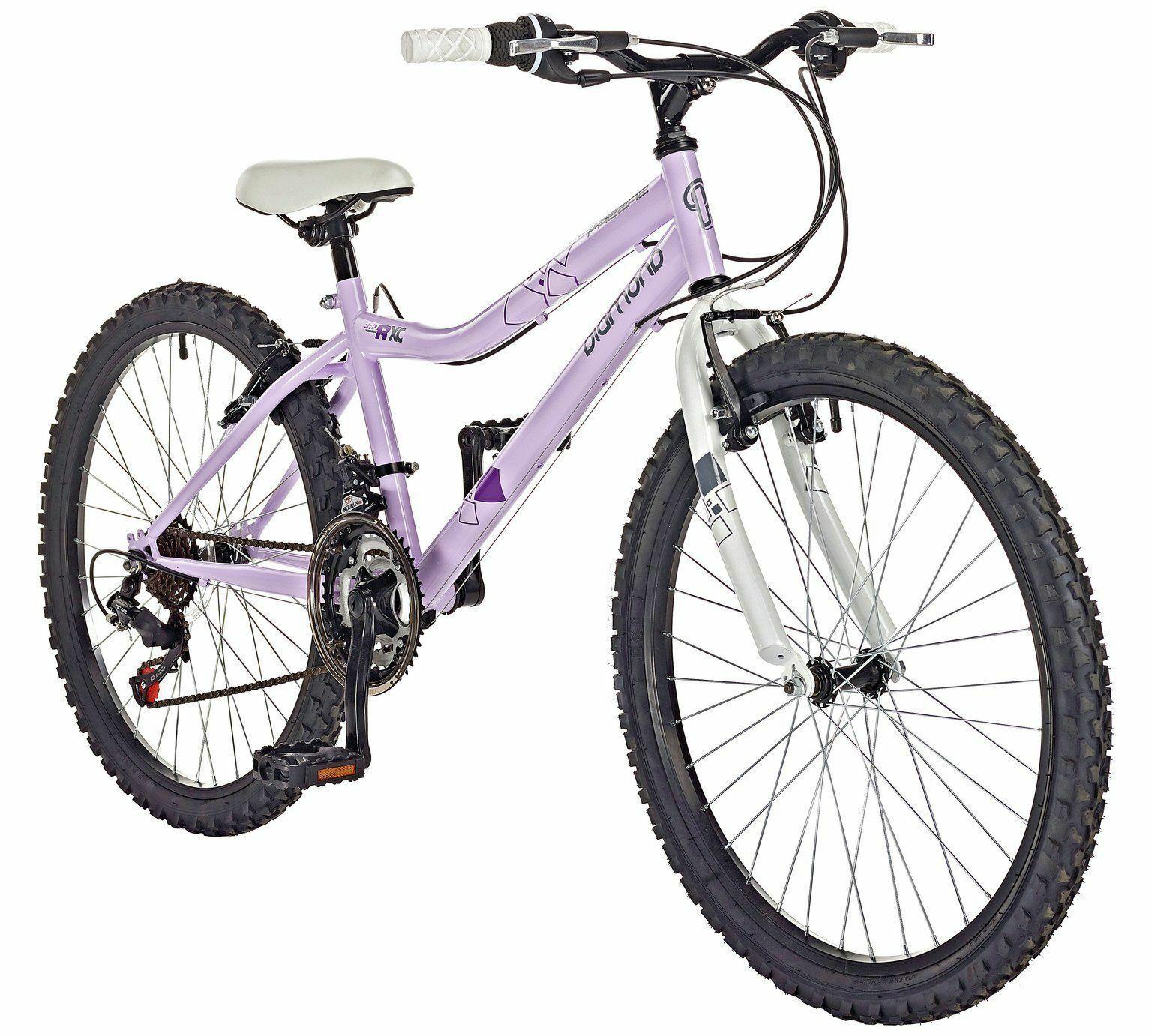 "Pazzaz Diamond 24"" Inch Wheel Kids Childrens Childs Rigid Bike Purple Bicycle"