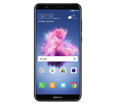"Label New Huawei P Smart Black 5.65"" 32GB 4G LTE Octa Sum Sim Free Unlocked UK"