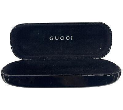 Gucci Eyeglass Case Black Leather Clam Shell Hard Case Black Velvet inside VTG