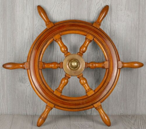 "Antique salvaged Helm Wheel  Ship wheel   24""  Mahogany Helms wheel"