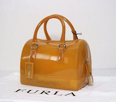 NWT Furla Iconic Candy Bag Satchel Girasole Yellow Soft PVC Handbag Italy 764435