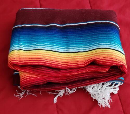 "Vintage Mexican Blanket Serape - 88"" X 56"" Multi Colored"