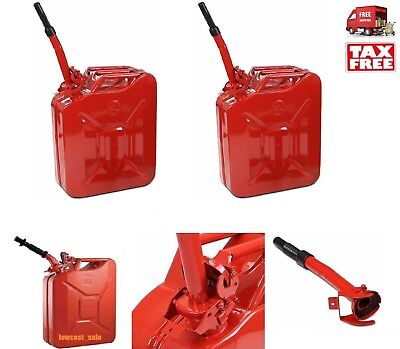 2 Jerry Can 5 Gallon Gas Fuel Diesel Army Nato 20l Military Red Army Steel Tank