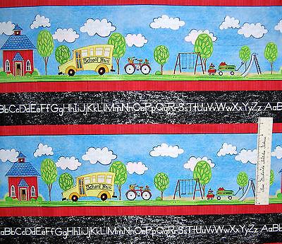 Fabric School Days Stripe Playground Alphabet Cotton Quilting Treasures Qt Yards