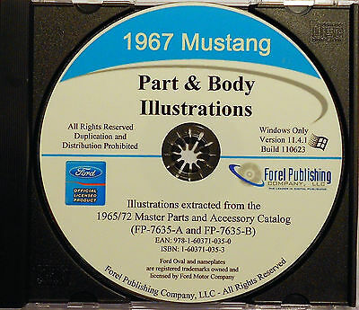 1967 Ford Mustang Illustrated Exploded View Parts And Illustrations Manual Cd