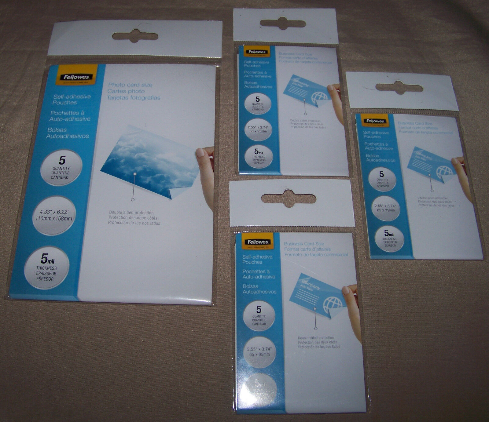Fellowes Self-Adhesive 5mil Pouches + 1 5-Pack Photo Size