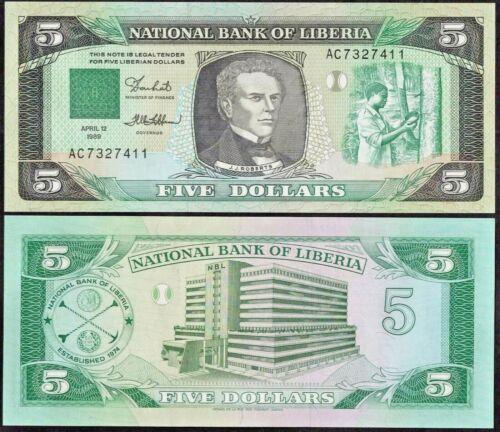 LIBERIA P19***5 DOLLAR***ND 1989***UNC GEM***USA SELLER