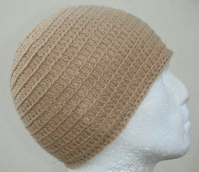 100% Pure Wool Beige Irie Heights Beanie Hat Ski,Surf, Skater Rasta Tam One Size