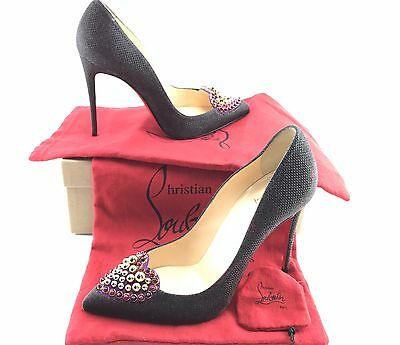 Christian Louboutin Coralta Mia Glitter Black/Velour Jeweled Heart 100Black 39