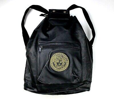 GIANNI VERSACE shoulder backpack nylon leather gold medusa head big logo black