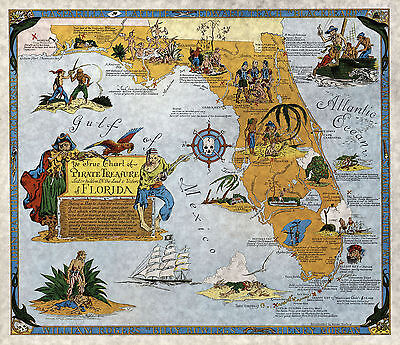 Florida Buried Treasure Hunting Pirate Map Poster Wall Art Print Vintage Style (Pirate Treasure Map)
