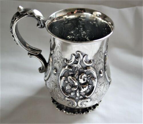 Antique Scottish Sterling Silver Repousse Mug Ca. 1852 Glasgow