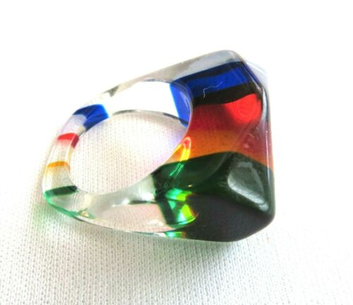 Vintage 60s 70s LUCITE Ring Stripes Colorful Sz 6.5 - 7 Psychedelic