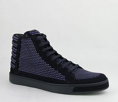 4bc2ea15339 Gucci Men s Suede Leather Studs Lace-up Hi Top Sneaker Dark Blue 391687 4018